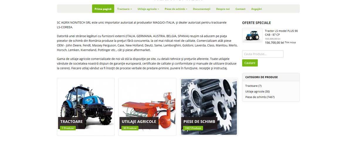 Creare site web & realizare magazin online: Agrix Nonitech